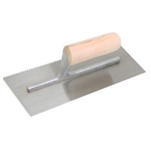Marshalltown QLT Cut-Back Wood Handle Notched Trowel - 1/8