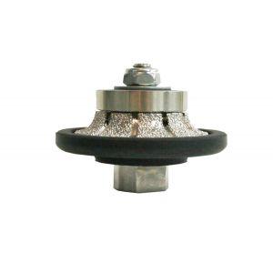 "RockMaster 3/8"" Demi-Bullnose Vacuum Brazed Diamond Router Bit - Coarse"